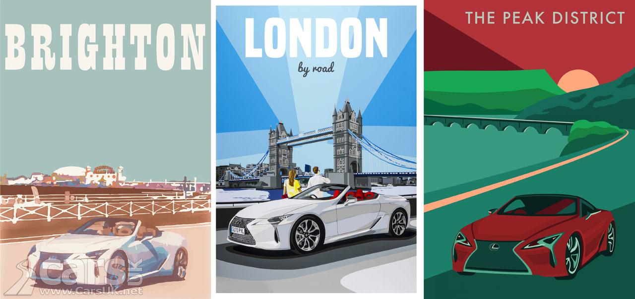 Photo Lexus LC Convertible Retro Travel Posters