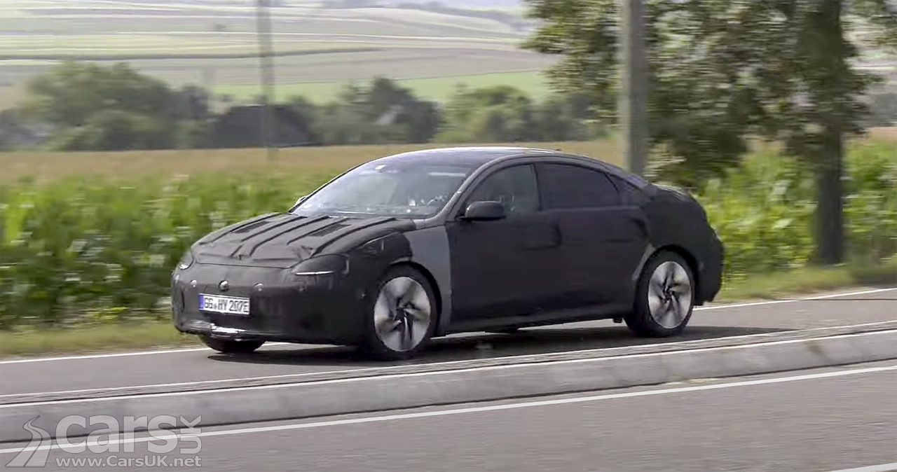 Electric Hyundai Ioniq 6 - the production take on the Hyundai Prophecy - spied on video