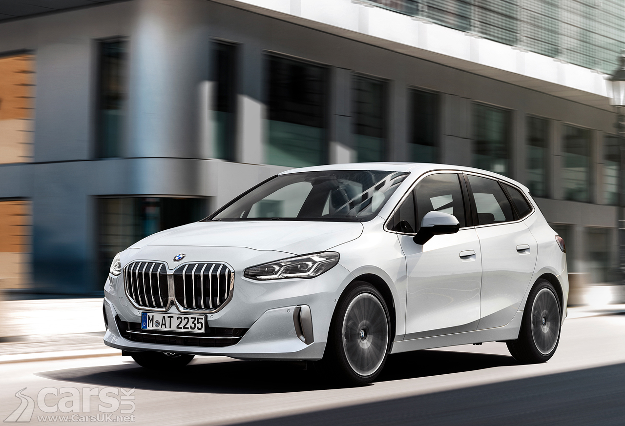 New BMW 2 Series Active Tourer in white with new sleek design and big grille