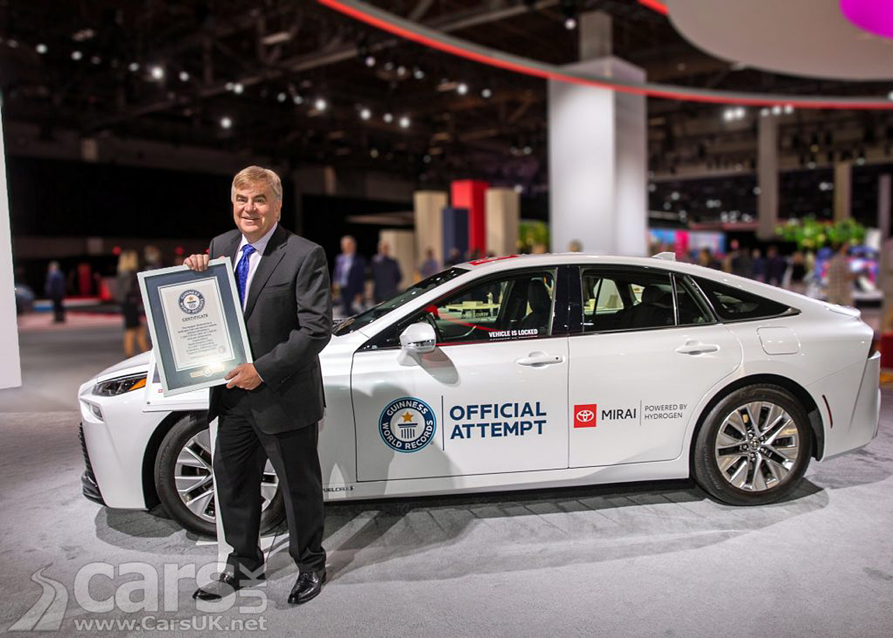 Toyota Mirai FCEV sets Guinness World Record of 845 miles on a single Hydrogen fill